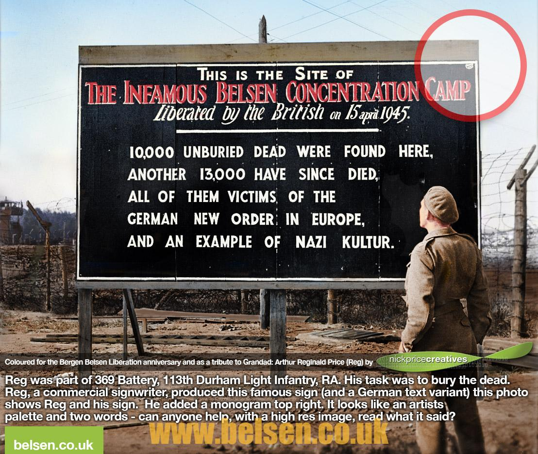 Belsen concentration camp sign